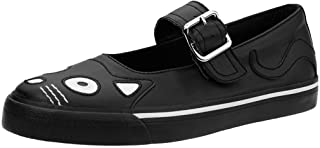 A9217L Womens Mary Janes, Black Kitty Face VLK Mary Janes