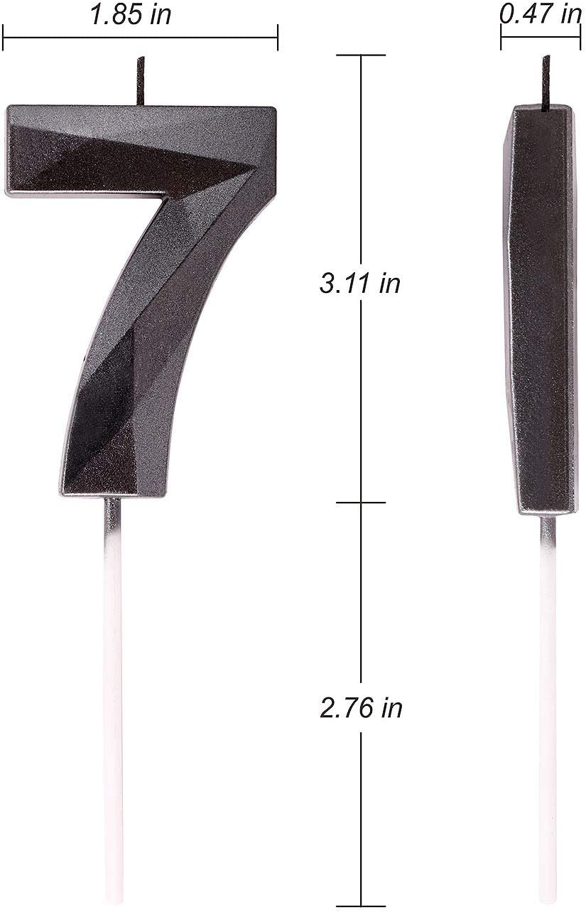 2.76 Inches Black 3D Diamond Shape Glitter Numeral Topper Decoration for Wedding Anniversary Kids and Adults Party Celebration Birthday Theme Party Birthday Cake Candle Number 9 Family Baking