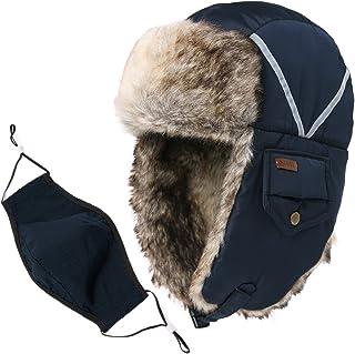d06a726801673 SIGGI Faux Fur Trapper Hat for Men Cotton Warm Ushanka Russian Hunting Hat