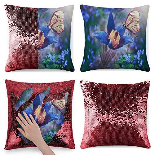 pealrich Fundas de almohada cuadradas para sofá cama, color lila y blanco mariposa de franela, fundas de cojín decorativas, 40,6 x 40,6 cm