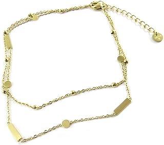 Les Trésors De Lily Q0909 - Catena cavigliera in acciaio 'Chorégraphie' in oro - 25,5 cm, 2 file.