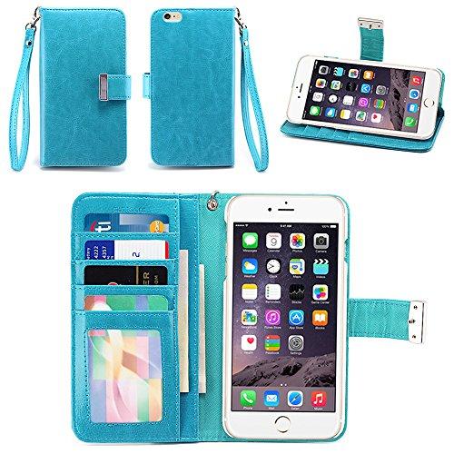 iPhone 6S Plus Case/iPhone 6 Plus Case, IZENGATE [Classic Series] Wallet Case Premium PU Leather Flip Cover Folio with Stand for Apple iPhone 6 Plus/Apple iPhone 6S Plus (Turquoise Blue)