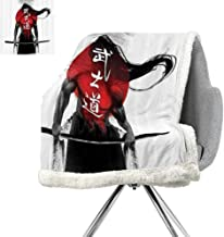 Japanese Decor Collection Light Thermal Blanket,Samurai Warrior Figure on Sunburst Background Ronin Japan Indigenous War Theme,Red Black White,Warm Breathable Comforter for Girls Kids Adults