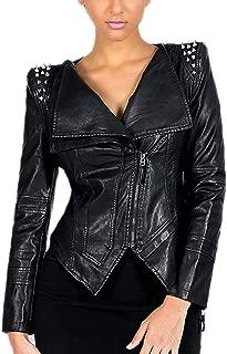 DISSA PW01 Women Faux Leather Biker Jacket Slim Coat Leather Jacket