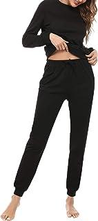 Aibrou Pigiama Donna Invernale,Pigiama Due Pezzi Donna Manica Lunga Pantalone Lungo,Pigiami da Donna con Tasca e Stampato per Notte Casuale S-XXL