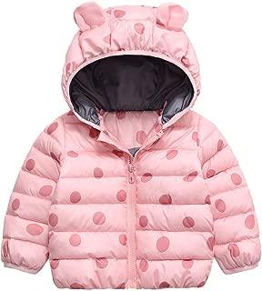 iLOOSKR Kids Winter Warm Coat Toddler Kid Boys Girl Dot Print Zipper Hooded Thick Coat Outwear Clothes