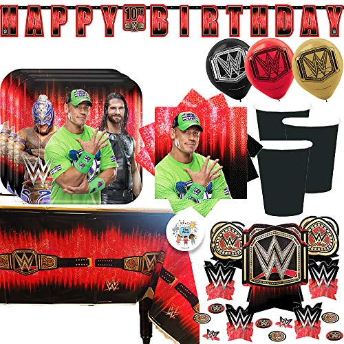 WWE Birthday Party Supplies and Decoration Pack With John Cena WWE Plates, Napkins, Tablecover, Cups, Add An Age Banner, Table Decoration, Balloons, and Pin