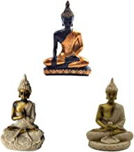 Fenteer 3 Pieces The House of Hue Sitting Meditating Buddha Statue Deity Resin Figurine