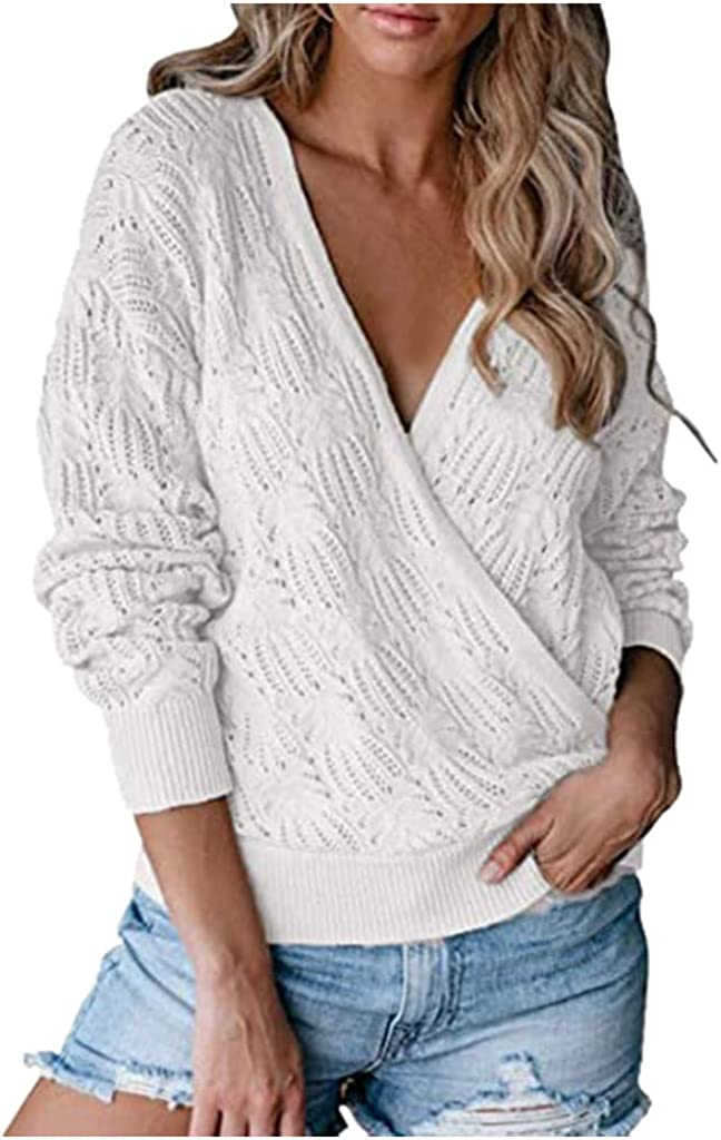 Sweaters for Women,Women's Fashion Long Sleeve Striped Color Block Knitted Sweater V Neck Loose Pullover Jumper Tops