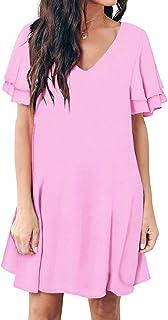 Women's Summer Casual Loose Mini Dress V-Neck Bell Short Sleeve Shift Dress