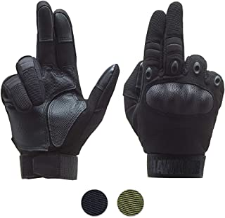 HAWK XR Tactical Gloves for Men & Women Upgraded Touch Screen. Free MESH Pouch. Black or Green Full Finger & Hard Knuckle Plate. Motorcycle Military Police Outdoors Shooting Gear. S M L XL Size.
