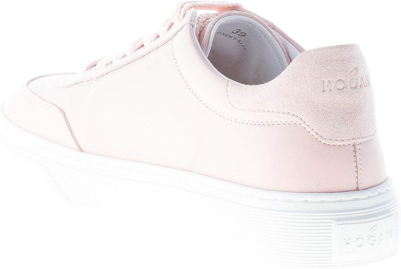 Hogan Donna H365 Sneaker in Pelle Rosa con Ricamo Fiori : Amazon ...