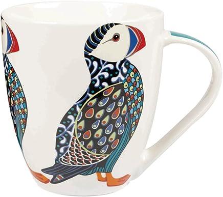 Preisvergleich für Queens Couture Tasse aus feinem Porzellan, Motiv Papageientaucher, bunt