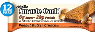 NuGo Smarte Carb Peanut Butter Crunch, 20g Protein, 0g Sugar, 2g Net Carbs, 160 Calories, 12 Count