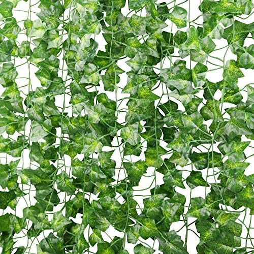 ElaDeco 12 Strands Artificial Ivy Fake Vines Plants Hanging Garland for Home Kitchen Garden Wall Wedding Party Decoration, 84 Ft, Green