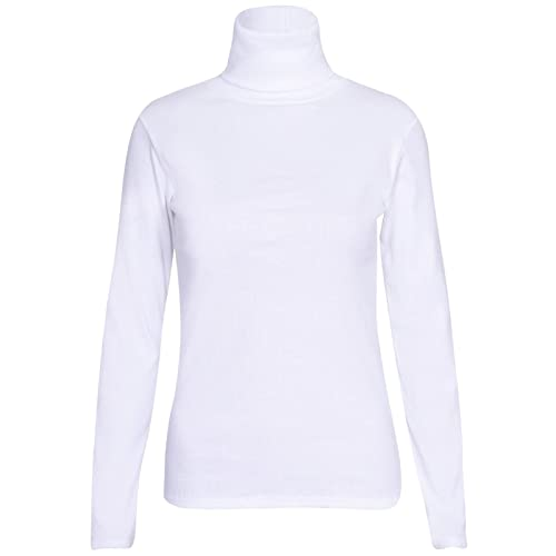 6a647e08c7bd27 Womens Polo Turtle High Roll Neck Plain Ribbed Long Sleeve Ladies Stretch T-Shirt  Top