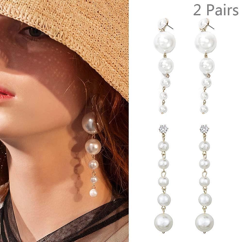 Daimay Big Pearl Long Tassel Drop Earrings Dangle Earrings Statement Geometric Bridal Earrings Accessories Jewelry for Women and Girls - 2 Pairs