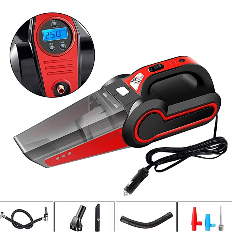 ETH Four in One Car Vacuum Cleaner 120W Car Air Pump High Power Wet and Dry Vacuum Cleaner Convenience (Color : Red, Size : Data Display)