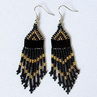 African Zulu beaded earrings - Chandelier NEW DESIGN - Black and gold - Gift for her