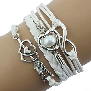 Funic 1PC Cupid's Arrow of Love Multilayer Leather Pearl Bracelet Adjustable Bracelet (White)