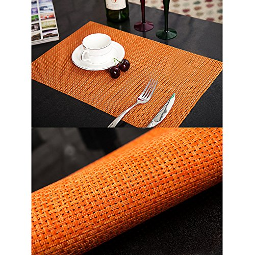 Lot de 4 sets de table tissés en PVC 2 couleurs disponibles Brun