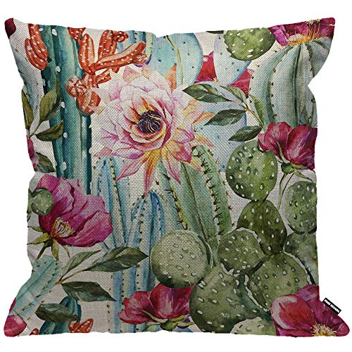 HGOD DESIGNS Cushion Cover Cactus with Flower,Throw Pillow Case Home Decorative for Men/Women Living Room Bedroom Sofa Chair 18X18 Inch Pillowcase 45X45cm