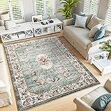 TALETA Greenish - Alfombra con diseño de flores, estilo oriental, suave, vintage, pelo corto para salón, color verde, tamaño: 120 x 170 cm