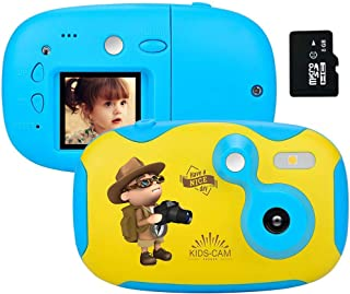 AMKOV Kids Toy Digital Camera for Boys - Mini Size Creative Toddler Toy Camera with Memory Card + Replaceable Cover and DIY Sticker
