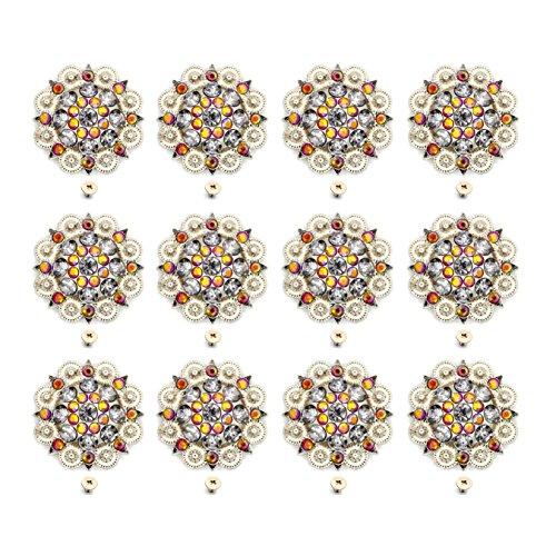 MarryAcc Berry Conchos with Screws Metal Flower Rhinestone Conchos 12 Pieces (Color 3)