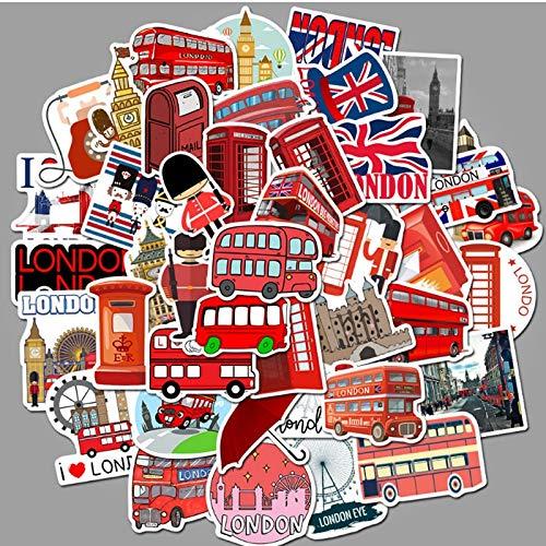 London Red Bus Cabina telefónicaGraffiti monopatín Impermeable Maleta de Viaje teléfono portátil Equipaje Pegatinas niños Lindos niña 50 Piezas
