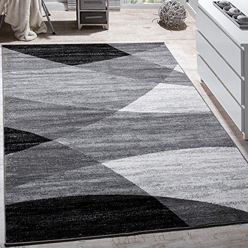 Paco Home Designer Teppich Modern Geschwungene Wellen Linien Muster Kurzflor Meliert Grau, Grösse:60x100 cm
