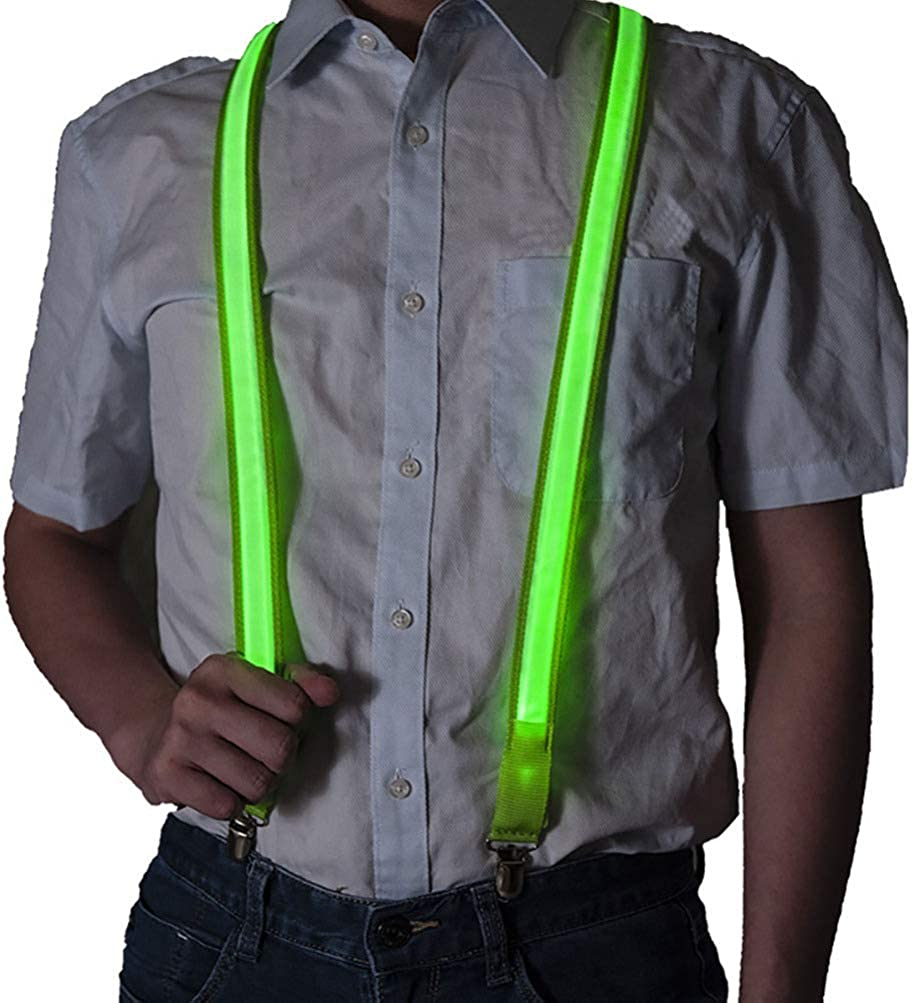 TENDYCOCO Mens Suspenders with Clips Light Up Suspenders Rave Accessories LED Trouser Suspenders Adjustable