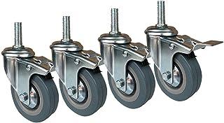 Peakfeng Meubilair Caster 75/100mm Draaibare wielen met remmen Silent Rubber wielen wiel M10/M12 Ingepaste montagestang (K...