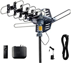 AirDiff Outdoor Digital Antenna [2019 Version] Amplfied HDTV Antenna 360 Degree Rotation Infrared Remote Control Tools-Free Installation with 40FT RG6 Cable