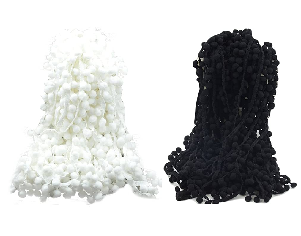 Yalulu 20 Yards Pom Pom Trim Ball Fringe Ribbon Edging Decoration for Arts Sewing Crafts DIY, Black/White