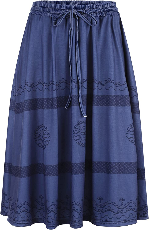 Pole-Trees Women's High Waist Boho Pleated Skirt Vintage Print A Line Maxi Skirt Elastic Casual Midi Dress