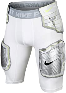 Nike Mens Pro Compression Hard Plate Football Shorts 688547 White/Grey/Volt