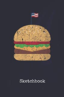 Sketchbook: Beef Burger United States   Blank Writing Journal   Patriotic Stars & Stripes Red White & Blue Cover   Daily Diaries for Journalists & ... Taking   Write about your Life & Interests