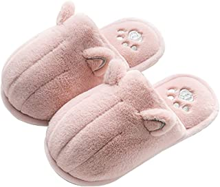 Cute Cat Fuzzy Slippers Warm Animal Memory Foam Cat Plush Winter House Shoes for Women and Men