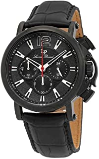 Men's 'Triomf' Quartz Stainless Steel and Leather Watch, Color:Black (Model: LP-40018C-BB-01)