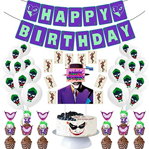 Halloween Party Supplies Set Happy Birthday Banner Balloons Cupcake Cake Topper It Decoration Party Favor for Kids and…