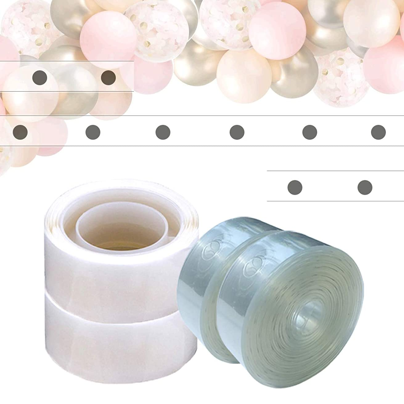 Balloon Arch Strip Kit 32 Feet Balloon Garland Tape / 200 Dots of Glue Easy to Make Balloon Decorations for Birthday Party Wedding and Baby Shower (Single Hole)