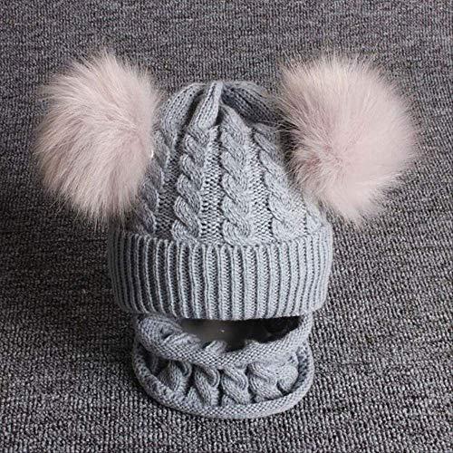 Bebé Bufanda de Punto con Pompones Dobles Gorro cálido Bufanda niño niño niña otoño Invierno Crochet Twist Set Gris