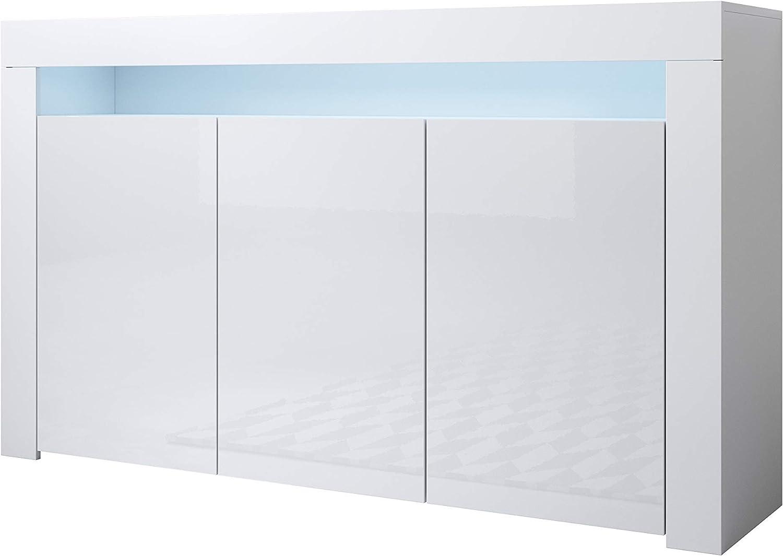 Muebles Bonitos   Aparador Moderno Aker   Ancho 155 x Alto 91,5 x Profundo 37 cm   Mueble de Melamina Brillo   Color Blanco