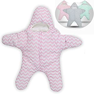 Himom 100% Cotton Newborn Baby Starfish Sleeping Bag Sack Infant Swaddle Stroller Wrap Soft Convenient for 0-1Year Old boy or Girl (Pink)
