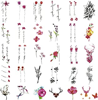 Everjoy Watercolor Flower Temporary Tattoos - 30 Pcs, Leaves, Words, Animal, Black, Bright, Color Flower Sketch for Adults, Women, Men, Kids, Boys and Girls