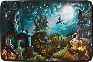 Kcldeci Halloween Night Autumn Pumpkin Doormat Bath Mat 23.6 x 15.7 inch, Witch Bat Indoor Entrance Bathroom Door Floor Ma...