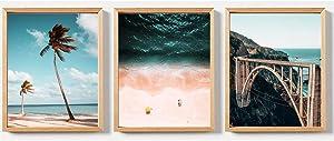 California Coastal Surf Wall Decor Summer Beach Wall Art Prints for Bathroom Wall Decor Boho Beach Wall Art Canvas Poster Set of 3 (8