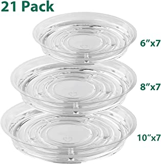 UltraOutlet 20 Pack Clear Plastic Plant Saucer Drip Trays (6 inch/8inch/10inch) Plant Plate Dish for Indoor Flower Pots an...