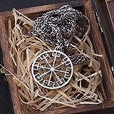 NDYD Vikingos Nórdicos Collar De Vegvísir Vikingo De Acero Inoxidable como Regalo para Hombres Joyería Collar De Amuleto De Runas Escandinavas con Caja De Madera Valhalla,50cm